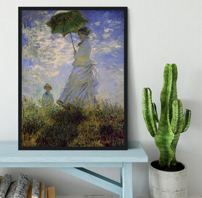 Woman with a parasol by Monet Framed Print - Canvas Art Rocks - 2