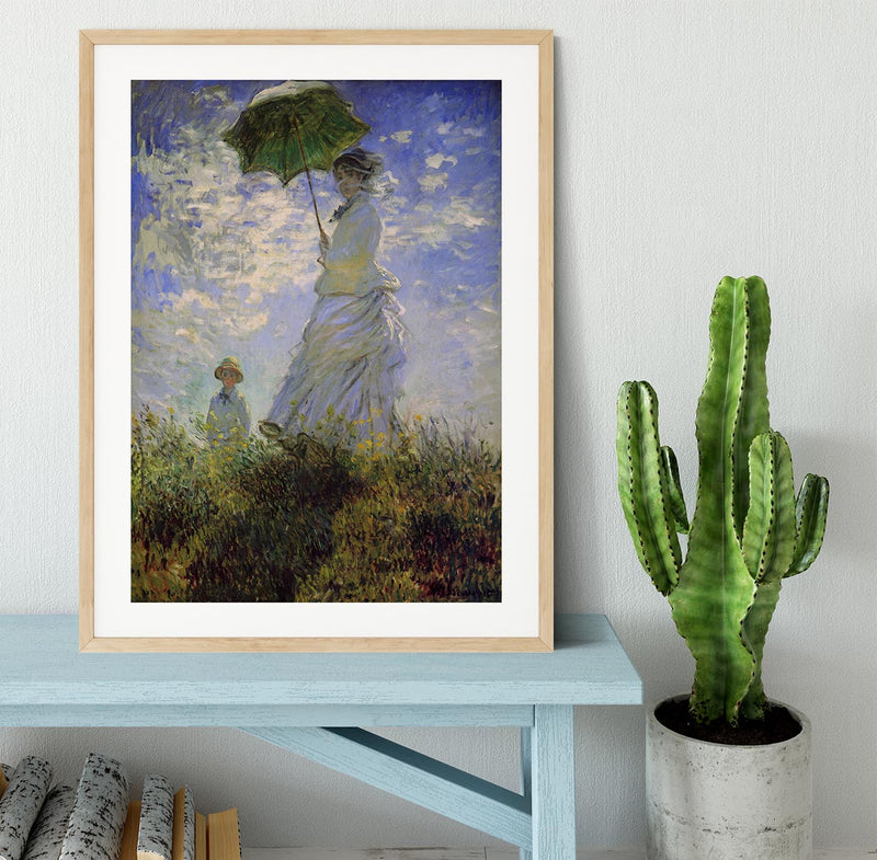 Woman with a parasol by Monet Framed Print - Canvas Art Rocks - 3