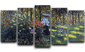 Woman with a parasol in the garden of Argenteuil by Monet 5 Split Panel Canvas  - Canvas Art Rocks - 1