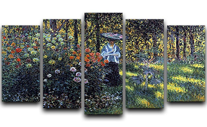 Woman with a parasol in the garden of Argenteuil by Monet 5 Split Panel Canvas