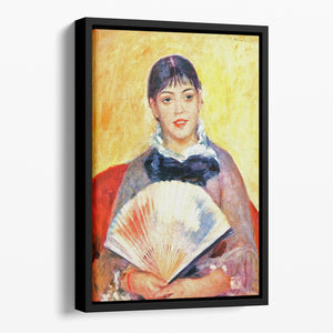 Woman with fan by Renoir Floating Framed Canvas