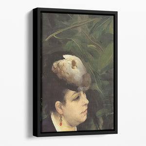 Woman with gull feathe Detail by Renoir Floating Framed Canvas