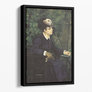 Woman with gull feather Woman in the garden by Renoir Floating Framed Canvas