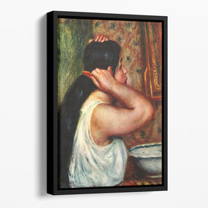 Woman with hair combs by Renoir Floating Framed Canvas
