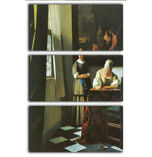 Woman with messenger by Vermeer 3 Split Panel Canvas Print - Canvas Art Rocks - 1