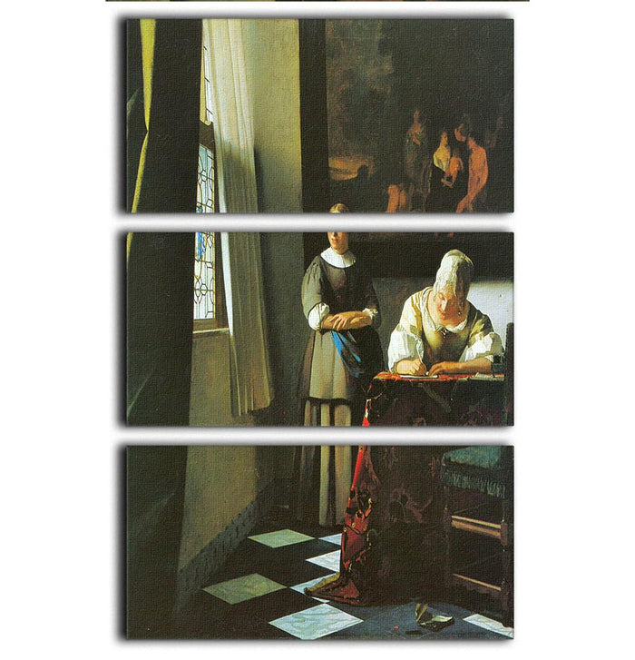 Woman with messenger by Vermeer 3 Split Panel Canvas Print