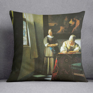 Woman with messenger by Vermeer Cushion