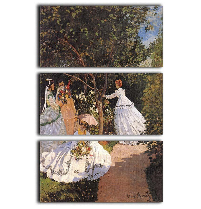 Women in the Garden by Monet 3 Split Panel Canvas Print