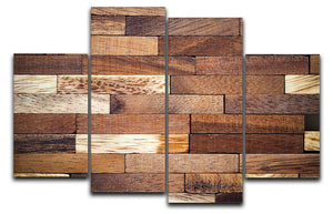 Wooden bars parquet 4 Split Panel Canvas - Canvas Art Rocks - 1