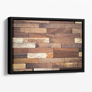 Wooden bars parquet Floating Framed Canvas - Canvas Art Rocks - 1