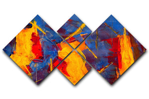 Yellow Blue Brown and Red Abstract Painting 4 Square Multi Panel Canvas  - Canvas Art Rocks - 1