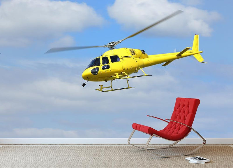Yellow helicopter in the air Wall Mural Wallpaper - Canvas Art Rocks - 1