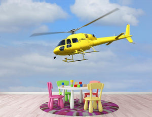 Yellow helicopter in the air Wall Mural Wallpaper - Canvas Art Rocks - 3