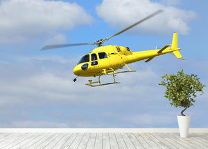 Yellow helicopter in the air Wall Mural Wallpaper - Canvas Art Rocks - 4