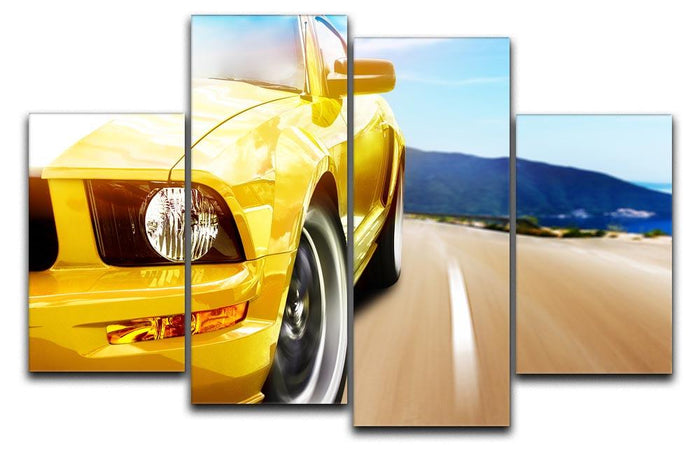 Yellow sport car 4 Split Panel Canvas