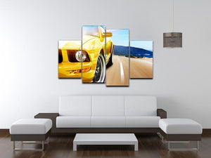 Yellow sport car 4 Split Panel Canvas  - Canvas Art Rocks - 3