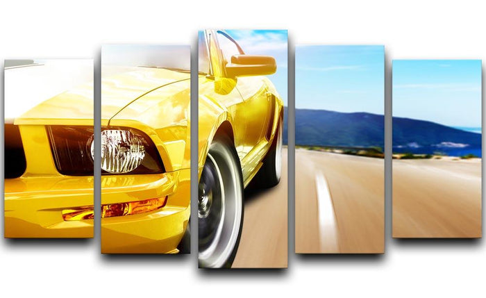 Yellow sport car 5 Split Panel Canvas
