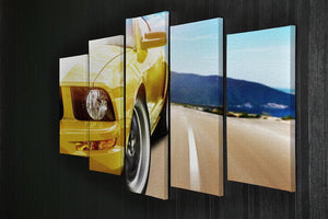 Yellow sport car 5 Split Panel Canvas  - Canvas Art Rocks - 2