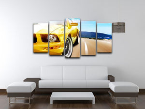 Yellow sport car 5 Split Panel Canvas  - Canvas Art Rocks - 3