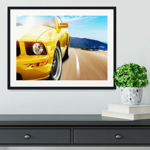Yellow sport car Framed Print - Canvas Art Rocks - 1