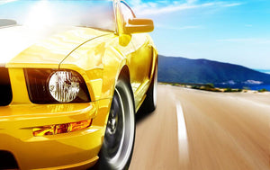 Yellow sport car Wall Mural Wallpaper - Canvas Art Rocks - 1