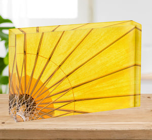 Yellow umbrella background Acrylic Block - Canvas Art Rocks - 2