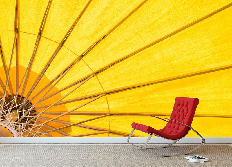 Yellow umbrella background Wall Mural Wallpaper - Canvas Art Rocks - 1