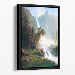 Yosemite Falls by Bierstadt Floating Framed Canvas - Canvas Art Rocks - 1