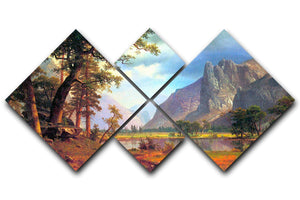 Yosemite Valley 2 by Bierstadt 4 Square Multi Panel Canvas - Canvas Art Rocks - 1