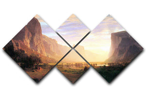 Yosemite Valley 3 by Bierstadt 4 Square Multi Panel Canvas - Canvas Art Rocks - 1