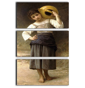 Young Girl Going to the Spring By Bouguereau 3 Split Panel Canvas Print - Canvas Art Rocks - 1