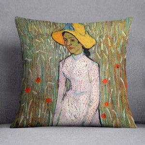 Young Girl Standing Against a Background of Wheat by Van Gogh Cushion