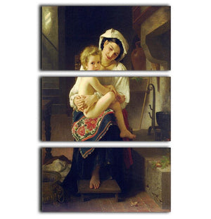 Young Mother Gazing At Her Child By Bouguereau 3 Split Panel Canvas Print - Canvas Art Rocks - 1