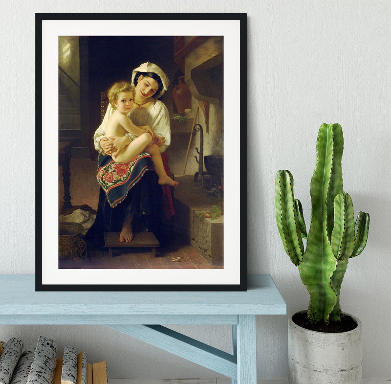 Young Mother Gazing At Her Child By Bouguereau Framed Print - Canvas Art Rocks - 1