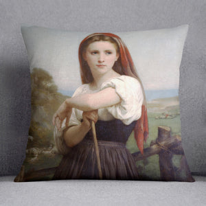 Young Shepherdess By Bouguereau Cushion