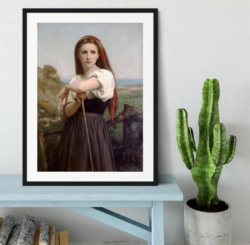 Young Shepherdess By Bouguereau Framed Print - Canvas Art Rocks - 1
