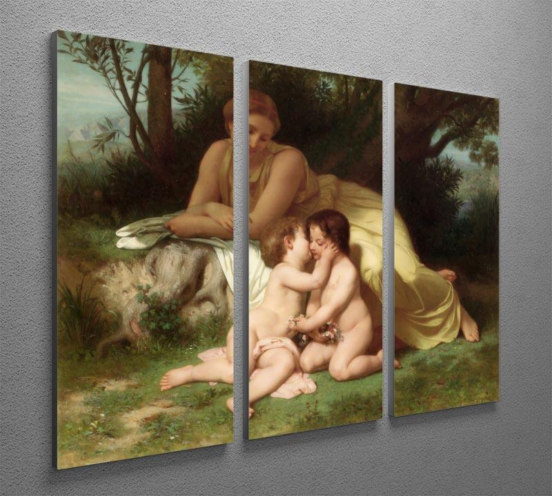 Young Woman Contemplating Two Embracing Children By Bouguereau 3 Split Panel Canvas Print - Canvas Art Rocks - 2
