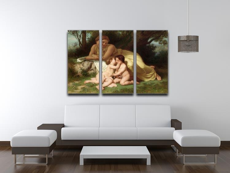 Young Woman Contemplating Two Embracing Children By Bouguereau 3 Split Panel Canvas Print - Canvas Art Rocks - 3