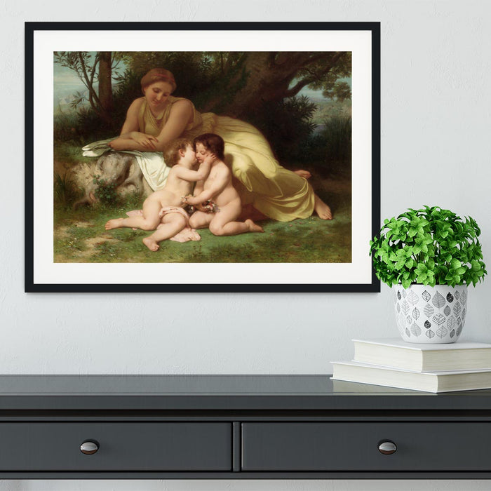 Young Woman Contemplating Two Embracing Children By Bouguereau Framed Print