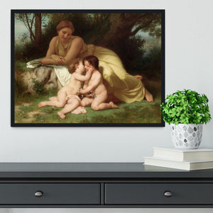 Young Woman Contemplating Two Embracing Children By Bouguereau Framed Print - Canvas Art Rocks - 2