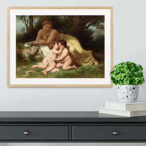 Young Woman Contemplating Two Embracing Children By Bouguereau Framed Print - Canvas Art Rocks - 3