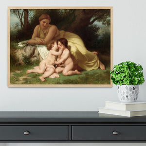 Young Woman Contemplating Two Embracing Children By Bouguereau Framed Print - Canvas Art Rocks - 4