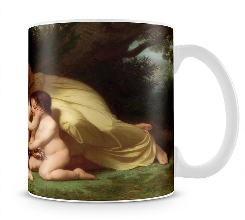 Young Woman Contemplating Two Embracing Children By Bouguereau Mug - Canvas Art Rocks - 1