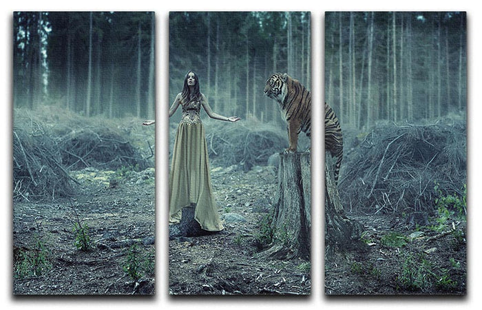 Young girl with a wild tiger 3 Split Panel Canvas Print