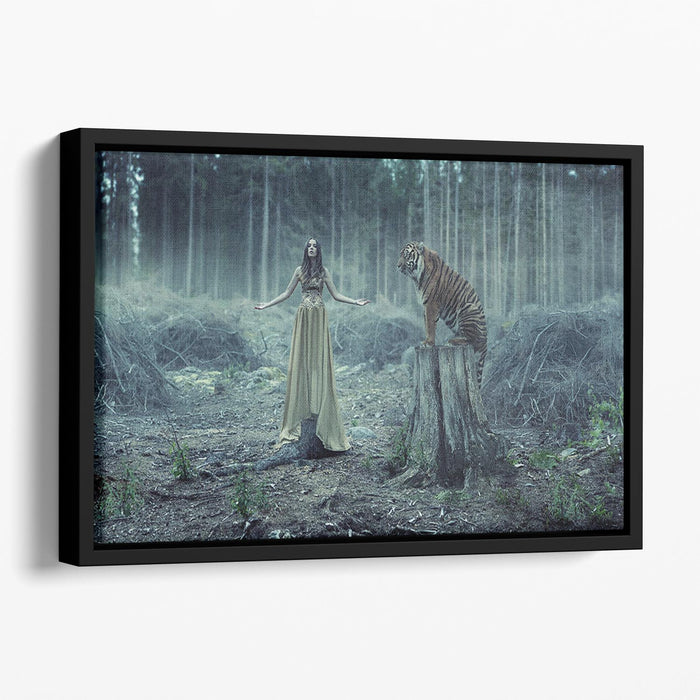 Young girl with a wild tiger Floating Framed Canvas
