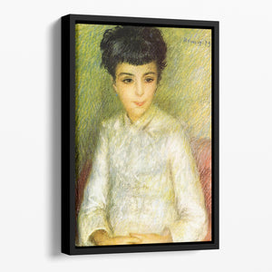 Young girl with brown hair by Renoir Floating Framed Canvas