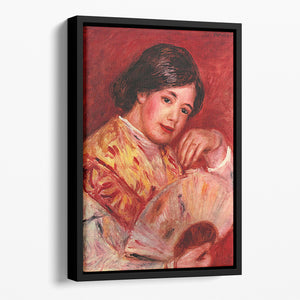 Young girl with fan by Renoir Floating Framed Canvas