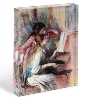 Young girls at the piano 1 by Renoir Acrylic Block - Canvas Art Rocks - 1