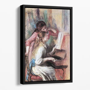 Young girls at the piano 1 by Renoir Floating Framed Canvas