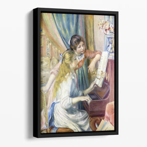Young girls at the piano 3 by Renoir Floating Framed Canvas